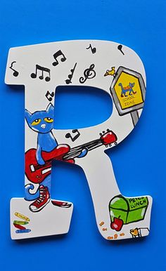 Pete the Cat Stay Groovy Alphabet Letter R Abc Wall, Alphabet Wall, Letter Set, Letter Wall, Pete The Cat Art, Hanging Wooden Letters, Storybook Nursery, Read Letters, Storybook Characters