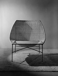 rene-jean caillette; prototype rattan and painted metal lounge chair for the triennialle du milan, 1958.