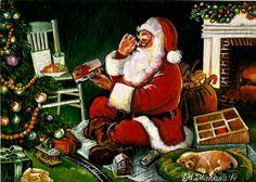 Original ACEO Christmas Santa s Favorite Delivery Vintage Holidays M. Mishkova