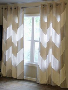 How to Make No-Sew Chevron Curtains From a Drop Cloth : Home_improvement : DIY Chevron Curtains, Diy Curtains, Kitchen Curtains, Paint Curtains, Silver Curtains, Homemade Curtains, Patterned Curtains, Beige Curtains, Short Curtains