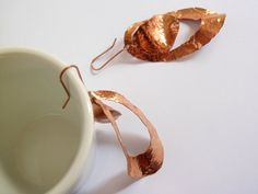 Copper earrings hammered very light by clode83 on Etsy, €25,00