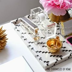 Pretty gold and acrylic desk accessories mix form and function perfectly!