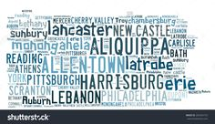 Word Cloud In The Shape Of Pennsylvania Listed Cities In The State Stockfoto 265945733 : Shutterstock