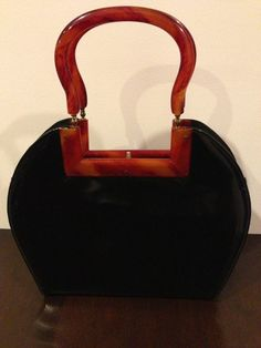 Vintage Bag Garay in Faux Black Patent Leather with Faux Tortoiseshell Handles