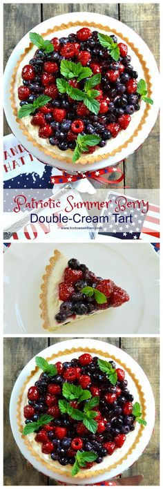 An easy, no-bake dessert, Patriotic Summer Berry Double-Cream Tart is a winning recipe to celebrate 4th of July or any other red, white and blue holiday. A flaky, store-bought sweet pastry tart shell covered with a sweet double-cream filling and topped wi