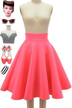 """Brand NEW to Le Bomb Shop! The """"Twirl in a Circle Skirt"""" in Shocking Pink! This high-waisted skirt goes perfect with our enchanted tiki crop tops and cross your heart pinup tops.. the fabric is scuba style and holds its silhouette perfectly! Get yours here (limited quantity available) http://lebombshop.net/products/twirl-in-a-circle-skirt-shocking-pink"""