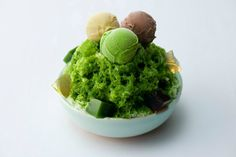 shave ice with matcha syrup