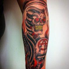 50 Coolest Grim Reaper Tattoos Designs of 2019 [Update] Grim Reaper Tattoo, Skull Sleeve, Art Tribal, Horsemen Of The Apocalypse, Tattoo Fails, Latest Tattoos, Dark Images, Anchor Tattoos, Tattoo Models