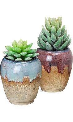 Set of 2 Tan, Red, & Blue Small Rustic Style Ceramic Plant Flower Container Planter Box Pots - MyGift® Best Price