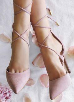 Blush lace up pumps