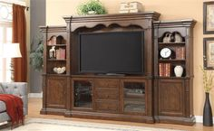 Bycrest Cherry Wood Entertainment Center w/TV Stand