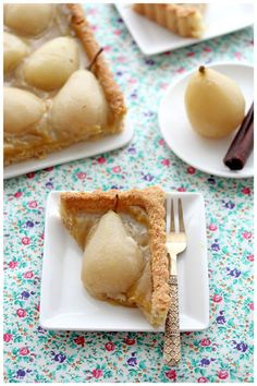 Moscato poaches pear tart with chai spiced custard and almond crust