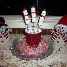 Christmas party ideas snowmen candy cane marshmallow