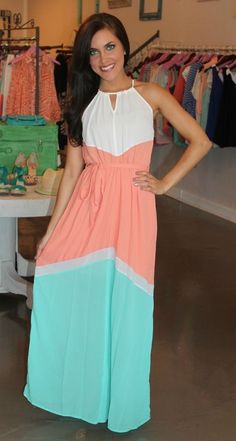 Beautiful sleeveless summer di-color maxi dress fashion for ladies... to see more click on pic