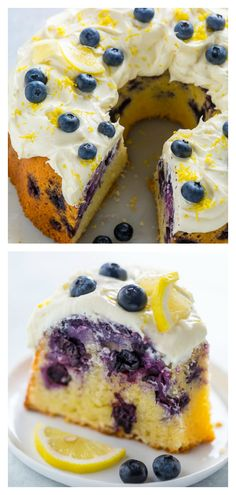 Lemon Blueberry Bundt Cake is moist, lemony, and bursting with juicy blueberries! Perfect for Spring and Summer celebrations! Lemon Blueberry Bundt Cake with Lemon Cream Cheese Frosting. Aka how to use up your abundance of blueberries this Summer! Brownie Desserts, Köstliche Desserts, Healthy Dessert Recipes, Baking Recipes, Lemon Desserts, Desserts With Blueberries, Cheesecake Strawberries, Summer Desserts, Plated Desserts
