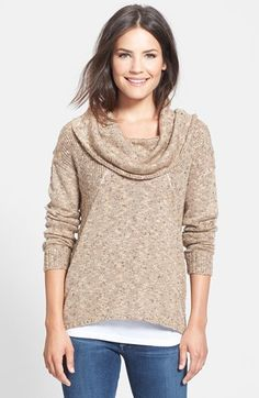 """Flecked Cowl Neck Sweater in """"chai combo"""" great for the fall fashion wardrobe"""