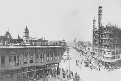 1906 Construction of the First National Bank Building at 14th Street and San Pablo Avenue.