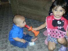 Kaylie and Wyatt eating popsickles