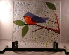 blue bird on a branch - fused glass Stained Glass Birds, Fused Glass Art, Mosaic Glass, Glass Fusion Ideas, Slumped Glass, Paint Your Own Pottery, Glass Molds, Glass Animals, Bird Drawings