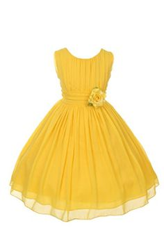 Yoryu chiffon asymmetric ruffled flower girl dress yellow ruched bodice chiffon flower girl dress with a lovely flower to accent the waist of the mightylinksfo