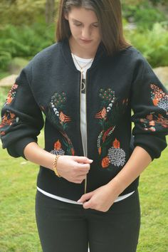 Black Embroidered Bomber Jacket from ExVoto Vintage