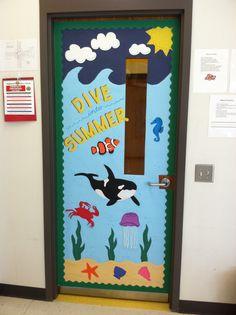 Ocean Beach themed classroom door