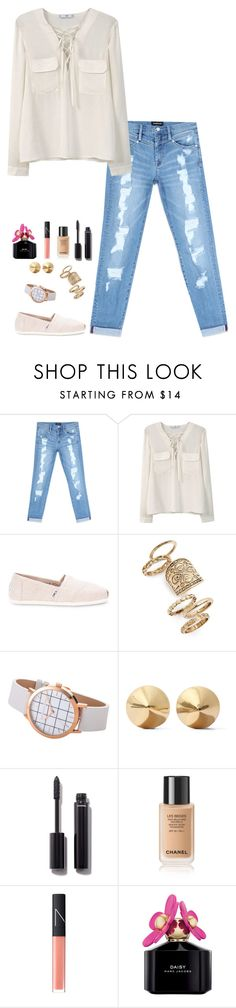 """""""Untitled #627"""" by h1234l on Polyvore featuring Bebe, MANGO, TOMS, Topshop, Eddie Borgo, Chanel, NARS Cosmetics and Marc Jacobs"""