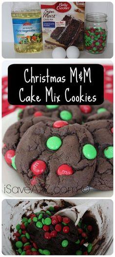 Christmas M&M Cake Mix Cookies - Christmas Cake Recipe Lazy Cake Cookies, Chocolate Cake Mix Cookies, Carrot Cake Cookies, Cake Mix Cookie Recipes, Cookies Et Biscuits, Cake Recipes, Holiday Cookies, Cookies With Cake Mix, Chocolate Christmas Cookies