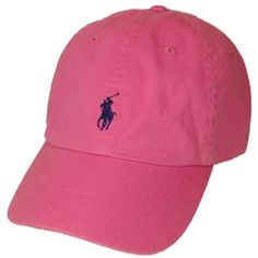 Polo Ralph Lauren Pony Logo Hat Cap Pink with Navy pony ($35) ❤ liked on Polyvore featuring accessories, hats, navy hat, pink hat, polo ralph lauren, caps hats and logo hats