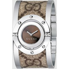 Gucci Twirl Large Stainless Steel And Gg Plus Watch ($705) ❤ liked on Polyvore featuring jewelry, watches, bangle watches, engraved bangle bracelet, gucci wrist watch, stainless steel watches, engraved watches y hinged bangle