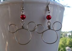 Mickey Mouse Wire Earrings with Glass Pearls and by Jewelzees