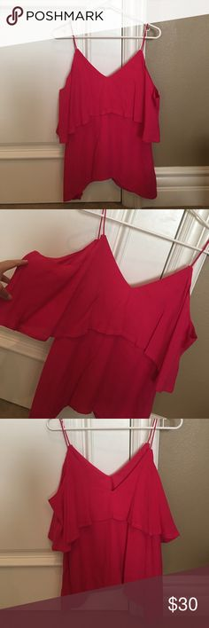 [LIKE NEW]: Hot Pink Cold Shoulder Blouse In like new condition, worn twice. Love the quality and style, but it's a big too big for me! Label says Small, but fits like a Medium/Large and I'm typically a Size Medium. This is a more flowy/baggy piece, not fitted. Super cute for date night or a girl's night out with gold accessories, jeans, and heels! ELLIAT Tops Blouses
