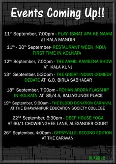 So are you ready for the upcoming new events!! Grab your passes for the dramas, exhibitions and many more.. Don't miss out any of them!! Go september!! Aamil Keeyan Khan Restaurant Week India Rohan Arora Bhawanipur Education Society College  #events #exhibiton #fashion #blogger #blooddonation #comedy #drama #food