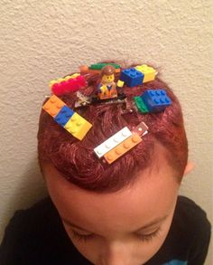 Lego themed Crazy Hair Day I did for my son Crazy Hair Day Boy, Crazy Hair For Kids, Crazy Hair Day At School, Short Hair For Boys, Crazy Hat Day, Bad Hair Day, Wacky Hair Days, Days For Girls, Lego