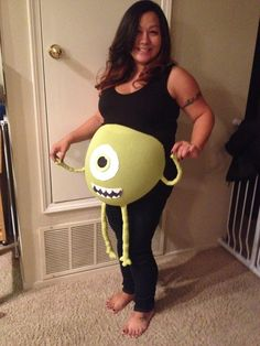 Silly maternity costume idea! #maternitycostume #halloween #mikewazowski