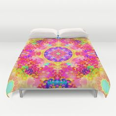 #Pink and Yellow #Kaleidoscope #Fractal Pattern #Duvet Cover by Hippy Gift Shop #society6 #homedecor #hippie #funky #ethnic