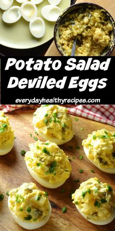These tangy, delicious mayo free potato salad deviled eggs make a fantastic healthy appetizer. The simple filling consists of potatoes, tangy dill pickles, healthy vegetable oil and low fat yogurt. #potatosalad #deviledeggs #deviledeggsrecipes #appetizers #nomayo #everydayhealthyrecipes