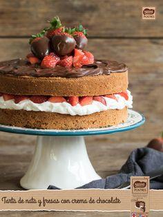 Tarta de nata y fresas con crema de chocolate