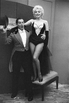 Marilyn Monroe and Milton Berle. Photo by Milton Greene, 1955.
