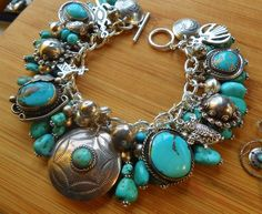OLD PAWN PIECES.. Sterling charms BIG Turquoise Native american Charm Bracelet: 410.00