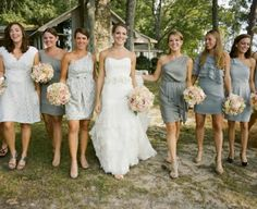 light grey ,  grey ,  bridesmaid dresses ,  short ,  one arm ,  multicolor ,  rustic ,  wedding