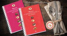 Kochbuch und Backbuch A5 Spiralgebunden und Hardcover in A4 in verschiedenen Farben erhältlich bei Grußkarte mit Herz