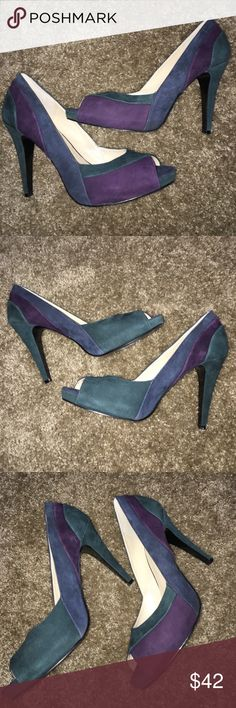 Nine West Peep Toe Pumps Heels Blue Purple Size 10 Worn once and in excellent condition.  Heel is 3.5 inches.  Some suede discoloration on back see last pic.  Comes with box which is a little banged up.  Have the same shoe in pink in my closet as well. Nine West Shoes Heels