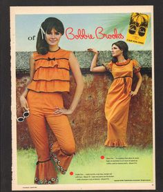 1966 Print Ad Bobbie Brooks - Man, we were groovy in the 60s! Pants crop top sleeveless bell bows ruffles orange outfit pantsuit 60s fashion style color photo print ad models