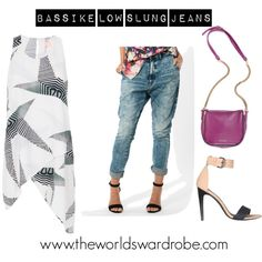 """Bassike Low Slung Jeans - The Worlds Wardrobe"" by cookiek on Polyvore"