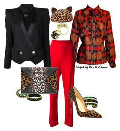"""Festive Kitty"" by briorashawn on Polyvore featuring Chanel, Yves Saint Laurent, Missoni, Christian Louboutin, David Webb, Eugenia Kim, Balmain and McQ by Alexander McQueen"