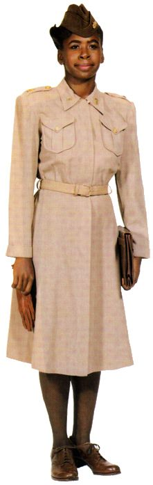 WAC officer in the winter off-duty dress (1944-1951), a grayish-pink wool fabric. Enlisted women also wore this dress.    http://www.history.army.mil/books/wac/appendix-d.htm