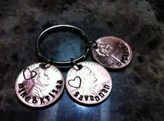 Hand Stamped Penny Keychain by MauiWauiStamping on Etsy, $6.00