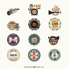 Logo Templates Vectors, Photos and PSD files Music Logo Inspiration, Logo Design Inspiration, Jazz Radio, Jazz Music, Music Production Companies, Free Badges, Jazz Concert, Guitar Logo, Rock Radio