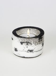 Koivu Birch range Raku Ceramic Tea Light Holder  'Kippo'  Black & White Monochrome OOAK
